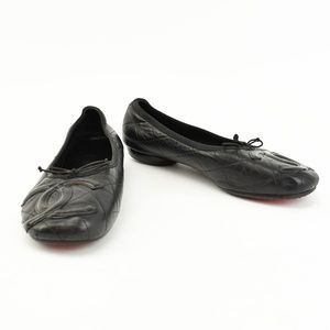 "CHANEL ""Cambon"" Black Leather CC Logo Ballet Flats"